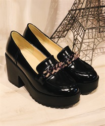 Plastic chain bit loafer(Black-S)