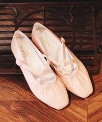 Cross gather ballet shoes(Pale pink-S)