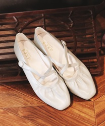 Cross gather ballet shoes(Saxe blue-S)