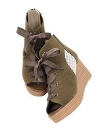 Tulle switching Sandal boots(Khaki-S)