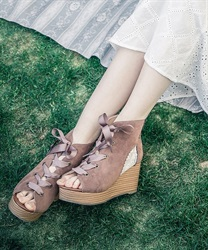 Tulle switching Sandal boots(Brown-S)