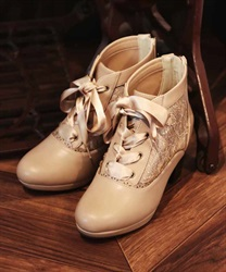 Tulle lace up boot(Beige-S)