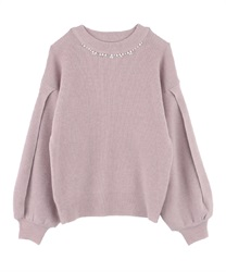 Slit Sleeve Loose Knit(Pale pink-Free)
