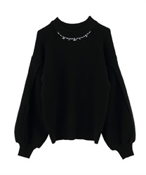 Slit Sleeve Loose Knit(Black-Free)
