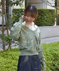 Mimosa embroidery knit cardigan(Green-Free)