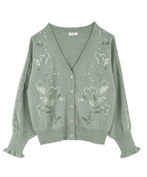 Mimosa embroidery knit cardigan