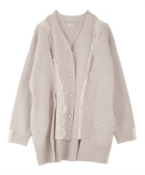 Layered style long cardigan(Beige-Free)
