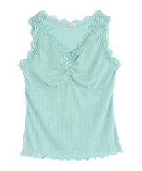 Lace-ribbed tank top(Green-Free)