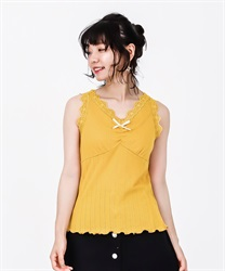 Lace-ribbed tank top(Mustard-Free)