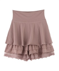 【axes femme yoga】Quick Dry Jersey Frill Layered Culottes(Pale pink-Free)