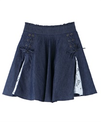 Lace switching culottes(Indigo-Free)