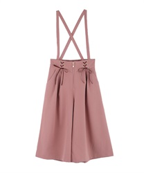 Half wide pants with suspension(DarkPink-Free)