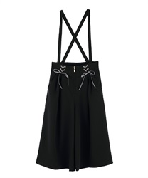 Half wide pants with suspension(Black-Free)