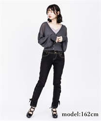High-waist denim pants(Black-S)
