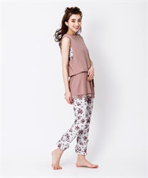 【2Buy20%OFF】【axes femme yoga】Quick Dry Flower Pattered Layered Frill Hem Stretchy Leggings(Ecru-Free)