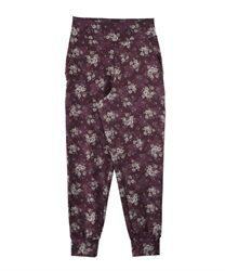 【axes femme yoga】Quick Dry Flower Pattered Loose Leggings with Pocket(Wine-Free)