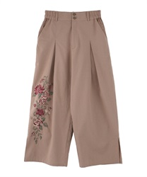 Embroidered pants(Beige-Free)