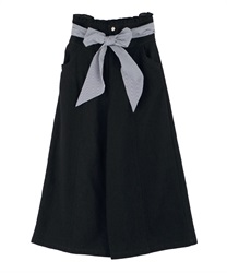 High waist wide pants(Black-Free)
