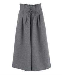 Tucked Design Wide Pants(Heather grey-Free)