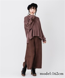 Wide pant with fur belt(Brown-Free)
