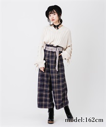 Wide pant with fur belt(Navy-Free)
