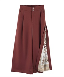Side Scarf Pattern Wide Pants(Brown-Free)