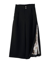 Side Scarf Pattern Wide Pants(Black-Free)
