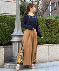 Side Scarf Pattern Wide Pants