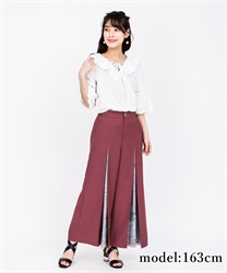 Scarf Cut Wide Pants(DarkPink-Free)