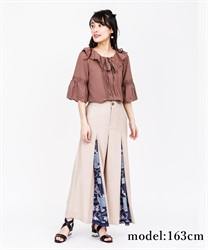 Scarf Cut Wide Pants(Beige-Free)