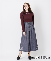 Hem embroidery with tack wide pant(Navy-Free)