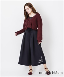 Hem embroidery with tack wide pant(Black-Free)