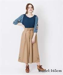Hem embroidery with tack wide pant(Camel-Free)