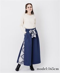 Scarf wide pant(Blue-Free)