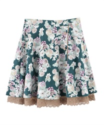 Flower and Fruit Patterned Circle Skirt(Green-Free)