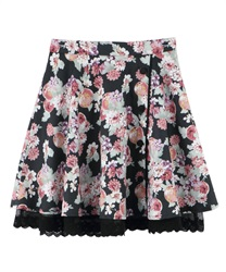 Flower and Fruit Patterned Circle Skirt(Black-Free)