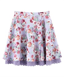 Flower and Fruit Patterned Circle Skirt(Lavender-Free)