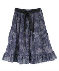 Shading Pattern Pleated Skirt(Navy-Free)