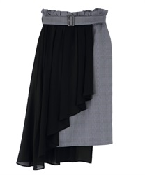 Chiffon Layered Middle Skirt(Black-Free)