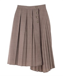 Double Pleated Eleme-Heme Skirt(Brown-Free)