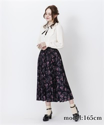 Cover button print skirt(Black-Free)