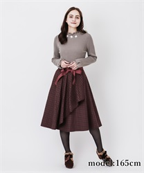 Raffle frilled check skirt(Wine-Free)
