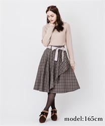 Raffle frilled check skirt(Brown-Free)