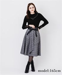Raffle frilled check skirt(Grey-Free)