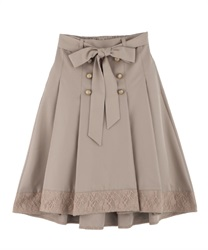 Hem lace switching trench skirt(Beige-Free)