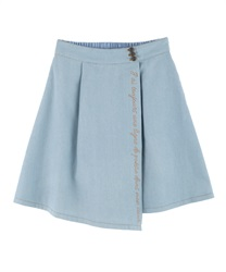Message Embroidery Denim Skirt(Wash-Free)