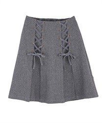 Lace-up design skirt(Heather grey-Free)