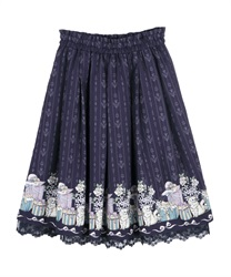 Cat and present box skirt(Navy-Free)