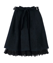 Panel embroidered skirt with ribbons(Navy-Free)