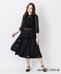 Monochrome Floral Flare Skirt(Black-Free)